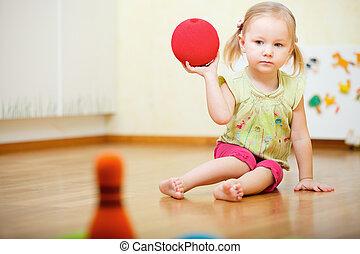 meisje, toddler, spelend