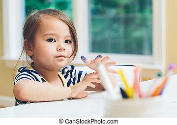 meisje, toddler, tekening, handwerken