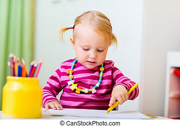 meisje, toddler, tekening