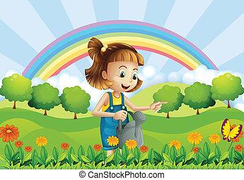 meisje, tuin, sprinkler, vasthouden, jonge