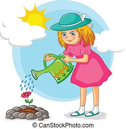 meisje, tuinieren