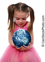 meisje, vasthouden, de aarde