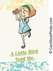 meisje, vasthouden, het spreken, vogel