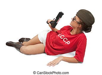 meisje, vasthouden, pet, overzees, gun.
