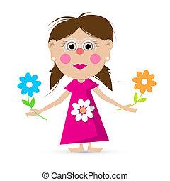 meisje, vector, bloemen, illustratie