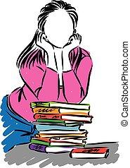 meisje, vector, boekjes , student, illustratie