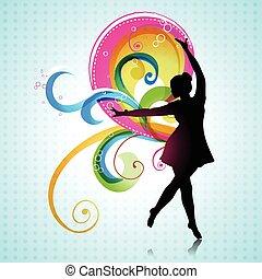 meisje, vector, dancing