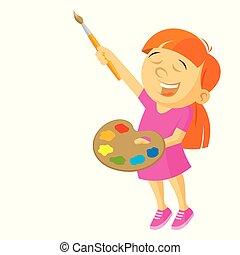 meisje, vector, illustratie, kunstenaar