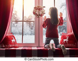 meisje, venster, zittende
