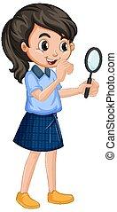 meisje, vergroten, achtergrond, witte , glas, uniform