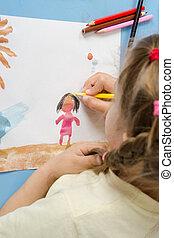 meisje, verlekkeert, een, potlood, op, tekening, geverfde, kleuren