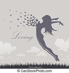 meisje, vlinder, sprong