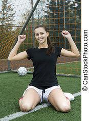 meisje, voetbal, vrolijke