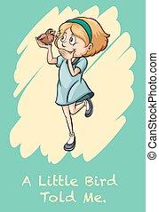 meisje, vogel, vasthouden