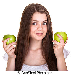 meisje, vrolijke , jonge, vrijstaand, het glimlachen, tiener, groene appel, witte