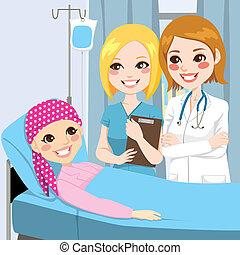 meisje, vrouw, bezoek, jonge arts