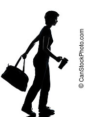 meisje, wandelende, jonge, een, tiener, school, silhouette