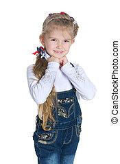 meisje, weinig; niet zo(veel), het glimlachen, mooi, stalletjes