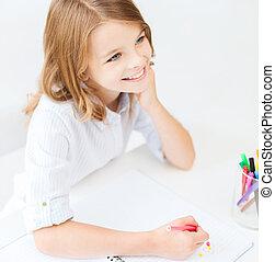 meisje, weinig; niet zo(veel), school student, tekening