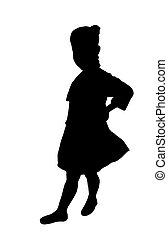 meisje, weinig; niet zo(veel), silhouette