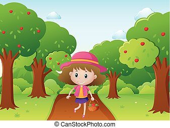 meisje, weinig; niet zo(veel), wandelende, appel boomgaard