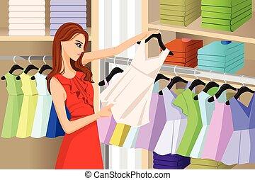 meisje, winkel, kopende kleren