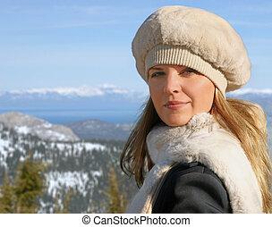 meisje, winter, blonde