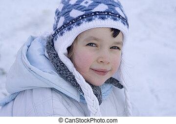 meisje, winter