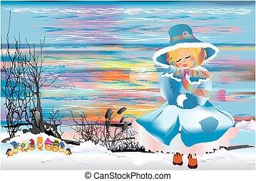 meisje, winter, wandeling