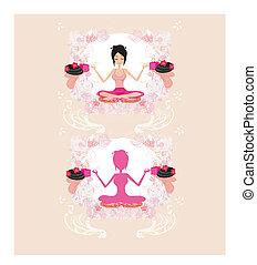meisje, yoga houding