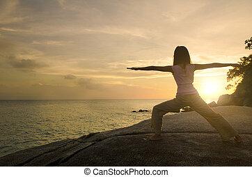 meisje, yoga