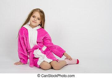 meisje, zes, oud, badjas, jaar