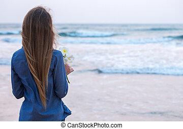 meisje, zonsondergang wereldzee