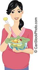 meisje, zwangere , groente, slaatje