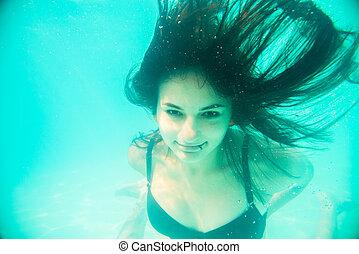 Onderwater, eyes, meisje, open, jouw, zwemmen