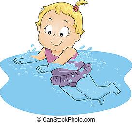 meisje, zwemmen