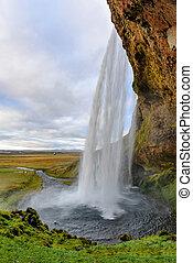 meisten, seljalandsfoss, iceland., berühmt, wasserfall majestätisch