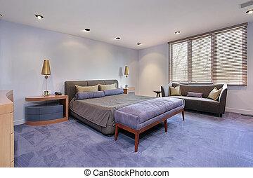 meister, schalfzimmer, mit, lavendar, carpeting