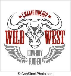 meisterschaft, cowboy, westen, -, rodeo., emblem., vektor, ...
