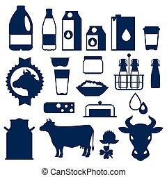 mejeri, sätta, produkter, mjölk, objekt