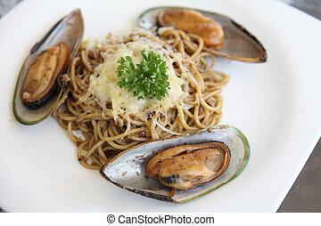 mejillones, Espaguetis