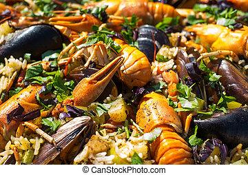 mejillones, mariscos, gambas, paella, español, cangrejo río