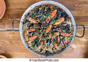 mejillones, mariscos, madera, paella, tabla, cangrejo río