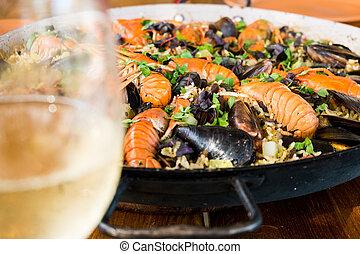 mejillones, mariscos, vidrio, paella, blanco, cangrejo río, ...