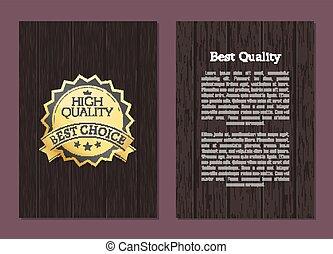 mejor, alto, calidad, premio, opción, vector, bandera, texto
