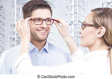 mejor, anteojos, óptico