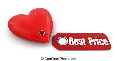 mejor, corazón, precio, etiqueta