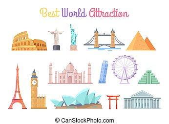 mejor, mundo, atracciones, conjunto, vector, ilustración