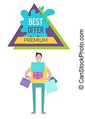 mejor, oferta, prima, cartel, vector, ilustración
