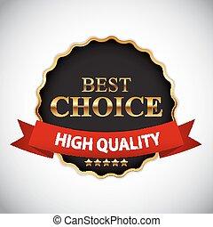 mejor, opción, dorado, etiqueta, con, cinta, vector, ilustración